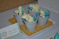 DIY: Seashell chocolates in beach pail - cute favor idea for our beach wedding shower Honeymoon Shower, Beach Shower, Beach Bridal Showers, Shower Party, Beach Wedding Favors, Wedding Candy, Wedding Ideas, Wedding Planning, Chic Wedding