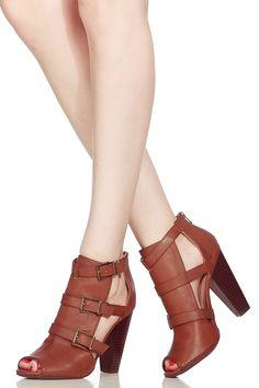 a688e171eea7 Chestnut Faux Leather Peep Toe Chunky Heels   Cicihot Heel Shoes online  store sales Stiletto Heel Shoes