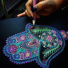 Neon Hamsa final touches for an art commission ❤ what so you guys think? Mandala Painting, Mandala Drawing, Dot Painting, Drawing Art, Gel Pen Art, Gel Pens, Hand Der Fatima, Dibujos Zentangle Art, Hamsa Art