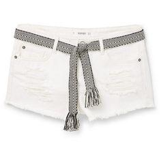 MANGO White Denim Shorts ($20) ❤ liked on Polyvore featuring shorts, bottoms, pants, short, jean shorts, white ripped shorts, bow shorts, ripped jean shorts and distressed shorts