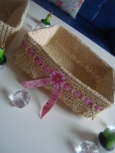 Häkelkörbchen aus paketschnur - welch super idee