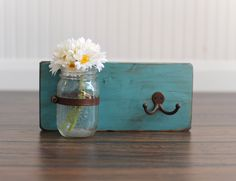 Key Hook - Wooden Wall Organizer - Wood Shelf - Wood Sconce - Mason Jar Sconce. $22.00, via Etsy {for the entry}