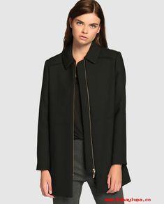 Descuento grande Abrigo de mujer Antea en color negro con cierre de  cremallera 5417b4b4e880