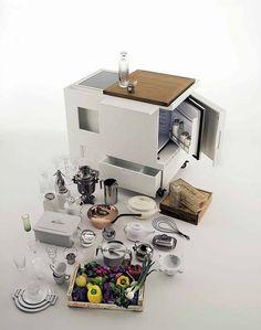 Minikitchen by Joe Colombo for Boffi Micro Kitchen, Hidden Kitchen, Small Studio Apartment Design, Cubes, Joe Colombo, Kitchen Cupboard Doors, Boffi, Minimal Kitchen, Multifunctional Furniture
