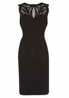 Beautiful Black Sleeveless Bodycon Dress with Ornate Neckline