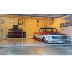 """Hot Wheels - That perfect garage right igers? @chassisfab helping with the image, what would you park next to the C10? #chevrolet #gmc #c10 #AirSuspension…"""