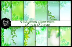 Fresh Greenery Digital Papers by FrankiesDaughtersDesign on Paper Illustration, Illustrations, Making Greeting Cards, Photography Backdrops, School Design, Digital Papers, Design Bundles, Free Design, Greenery