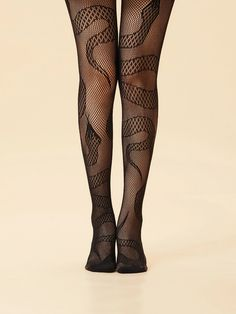Fishnet Tights, Fishnet Stockings, Fish Net Tights Outfit, Motif Serpent, Stockings Outfit, Snake Patterns, Patterned Tights, Fantasy Dress, Animal Fashion