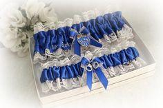 Police Wedding Garter  Bridal Garter Set  Blue Line Wedding