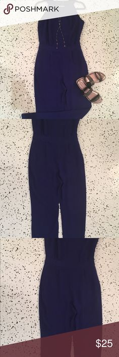 Cobalt blue jumpsuit Amazing cobalt jumpsuit. Side pockets, no flaws! Great condition. Zara Pants Jumpsuits & Rompers