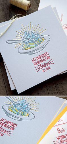 Création de la carte de voeux 2017 pour un joaillier à Genève, impression recto verso en 4 couleurs avec enveloppes // 2017 new year cards leterpress printed in 3 colors
