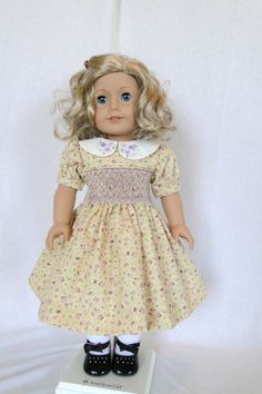 Hand smocked Dress with Purple Daisies Embroidered Collar by dancingwithneedles on Etsy, $39.00