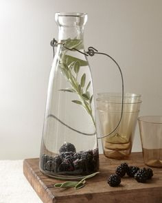 Blackberry-Sage Flavored Water: This is good but only if you let it sit overnight! I made it and drank some about an hour and a half later, and all I tasted was the sage. By the next day though, the blackberry flavor had come through and mingled nicely with the sage.