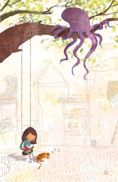Oh oh. This can't be good. Yet, somehow it looks like this purple octopus might be cool. Lee White Illustration