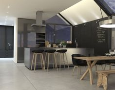 Passiefhuis BONGERS architecten bnaBONGERS architecten bna House Design, Interior, Modern, Kitchen, Table, Furniture, Home Decor, Street, Gardens