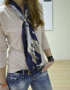 Tan shirt, hermes scarf, jeans