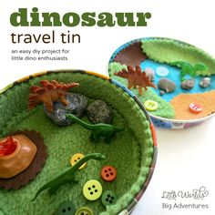 How to Make a Mini Dinosaur Travel Tin - great for kids to take on the road, or as a quiet activity for church, the doctor's office etc.