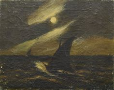 """Sailboats in the Moonlight,"" Albert Pinkham Ryder, oil on canvas, 16 x 20"", private collection."