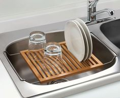 Over the sink dish drying rack in bamboo