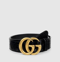 75330a876 Gucci Crocodile Belt with Double G Buckle Gucci Leather Belt, Black Leather  Belt, Leather