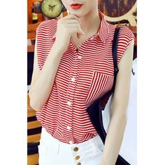 Wholesale Casual Shirt Collar Stripe Print Single-Breasted Sleeveless Blouse For Women (RED,ONE SIZE(FIT SIZE XS TO M)) | Everbuying