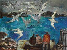 Bror Julius Olsson Nordfeldt (1878-1955) - Fishermen and Seagulls, Northern California, 1944