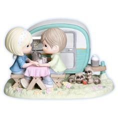 I am so not into Precious Moments, but this is pretty cute.  Precious Moments: I'm A Happy Camper When I'm With You My Precious, Disney Precious Moments, Precious Moments Figurines, Camping Life, Rv Life, Rv Camping, Campsite, Camping Hacks, Collectible Figurines