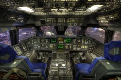 Space Shuttle Cockpit, Houston    Limited edition canvas prints from the Altered Perspectives collection at http://www.alteredperspectives.us.