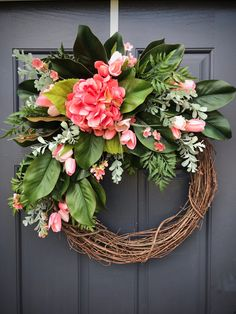 Spring Wreath Magnolia Wreaths Hydrangea Wreath Pink Spring Wreaths Pink Green Door Wreath Mothers Day Gift New Home Gift Housewarming Gift Hydrangea Wreath, Hydrangea Flower, Flowers, Magnolia Wreath, Magnolia Leaves, Spring Door Wreaths, New Home Gifts, Grapevine Wreath, Grape Vines
