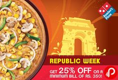 Domino's Pizza Festival Enjoy Republic Week Offers 25% off on Pizza and Breads. valid for online & mobile app orders. not valid on Pizza Mania Combos, Stuffed Garlic Bread, Simply Veg/Non Veg Pizza. Domino's Pizza Coupon Code – REP50 | DPF25  http://www.paisebachaoindia.com/pizza-festival-enjoy-25-off-on-pizza-and-breads-dominos-pizza/