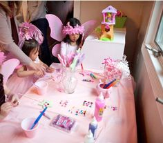 Fairy party - decorating star wands  Put curling ribbon already curled in a jar!