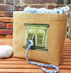 VINTAGE FRENCH WINDOW Knitting Crochet Craft Bag Storage Organiser Basket Unique Jute Hessian Burlap Natural Cotton Canvas Handmade Gift