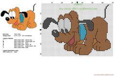 Disney baby Pluto piccolo schema punto croce col punto scritto