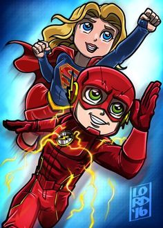 Supergirl and The Flash by LordMesa Flash E Supergirl, Supergirl Comic, Lord Mesa Art, Superhero Shows, The Flash Grant Gustin, Cw Dc, Dc Tv Shows, Univers Dc, Dc Legends Of Tomorrow