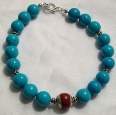 Handmade Mens Turquoise Beaded Bracelet with by AyanaGlazeDesigns, $50.00