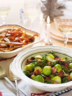 Christmas lunch would not be complete without a side recipe of winter greens and crispy bacon.