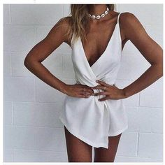 Harness White Deep V-Neck Playsuit Women Clubwear Sexy Summer Lady Playsuit Bodycon Party Jumpsuit Romper Female Shorts Clubwear, Summer Outfits, Cute Outfits, Leotard Tops, Overalls Women, Look Cool, Jumpsuits For Women, Dress To Impress, Rompers