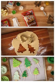 Make a cookie tree forest with these Christmas tree cookies baked on paper lollipop sticks!