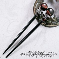 Red Tigers Eye Hair Sticks of Phedre no Delaunay by NightBlooming, $40.00
