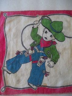 1930's 40's Antique Little Boys COWBOY Handkerchief Hankie as-is Vintage #Unknown #Childrens