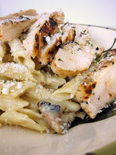 chicken bacon pasta - This is very good. I would just suggest mixing the chicken in with the pasta and sauce. I have also added pine cuts.