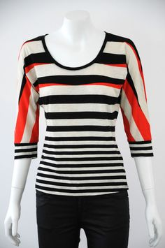 JAG  Women s 100% Cotton Striped 3/4 Sleeve Top / Blouse  {Size XS / 8}