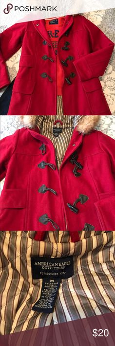 Hooded pea coat American Eagle red peacoat with removable fur hood. Toggle buttons. Great condition. American Eagle Outfitters Jackets & Coats Pea Coats