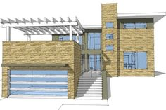 Modern Style House Plan - 4 Beds 2.5 Baths 2592 Sq/Ft Plan #64-195 Exterior - Front Elevation - Houseplans.com