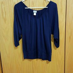 H&M Dark Blue Navy Cinched Waist Blouse Perfect condition. I lost weight so its a bit loose on me H&M Tops Blouses
