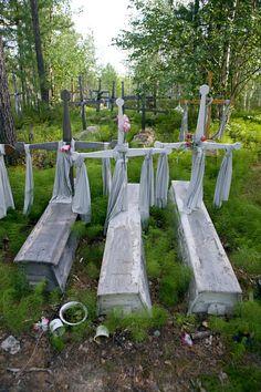 A Northern Selkup graveyard at Bistrinka. Purovsky, Yamal, Western Siberia, Russia.