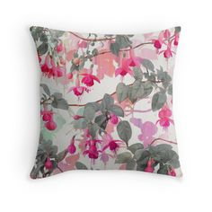 """""""Rainbow Fuchsia Floral Pattern - with grey"""" Throw Pillows by micklyn 