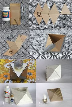 34 Cool and Modern DIY Concrete Projects - geometric concrete bookendJacot Jacot Mansfield this is a perfect DIY version DIY: Geometric Planter by A BeautifulMessRepurpose scrap fabric into Antrhopologie inspired totesGeometric concret DIY - My Backy Diy Concrete Planters, Concrete Crafts, Diy Planters, Garden Planters, Succulent Planters, Balcony Garden, Succulents Garden, Diy Candle Holders, Diy Candles