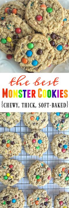 The best monster cookies are loaded with peanut butter, oats, chocolate chips, and mini m&m's! Thick, chewy, soft-baked monster cookies with a secret ingredient.