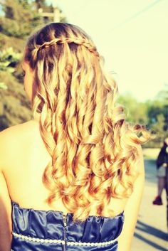 I think I might want a waterfall braid and curled hair for prom, I really don't know yet haha